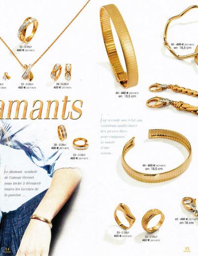 Double page intérieure pour un magazine de bijoux.
